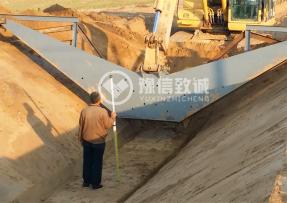 山东德州大型排水沟渠施工现场