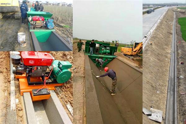 农村水渠成型机现场施工