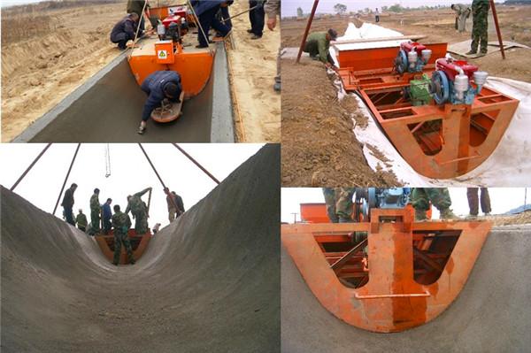 1.6米U型渠土工布夹层施工成型案例
