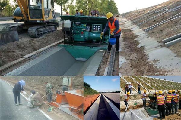 水渠机机械化修渠施工现场