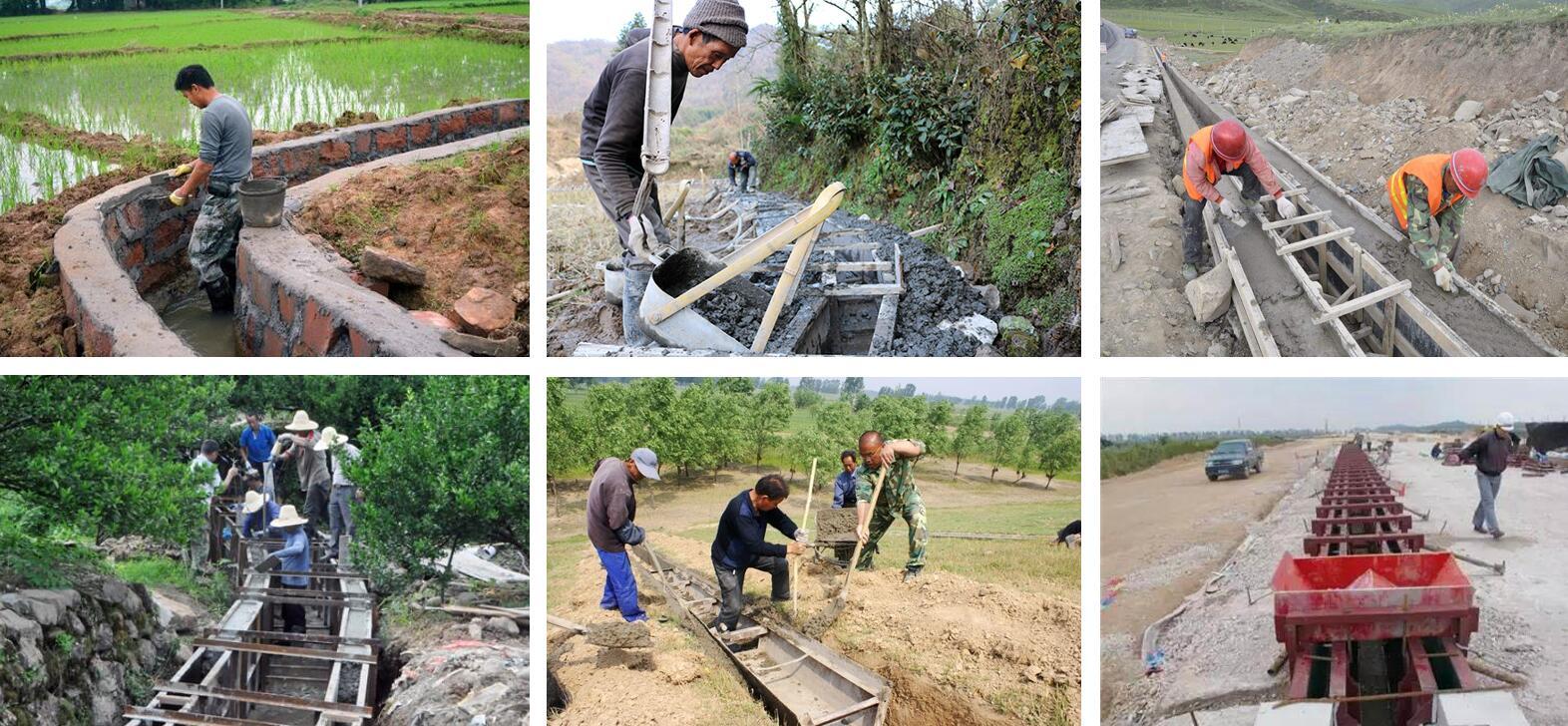 人工修水渠的现场图片