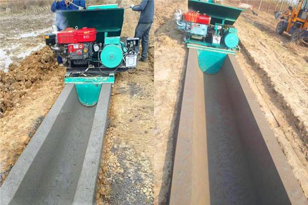 U型水渠滑模机在农田输水渠施工现场