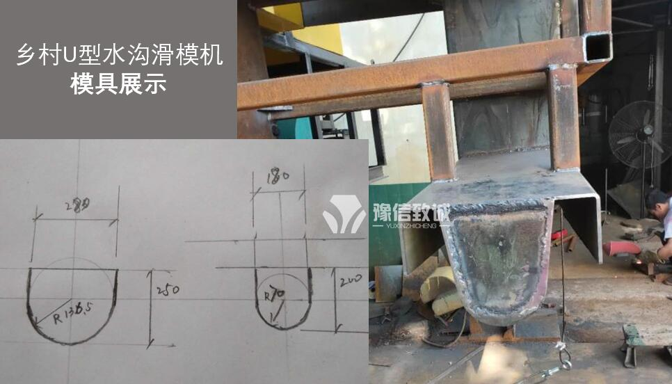 U型水沟滑模机模具尺寸展示和尺寸图