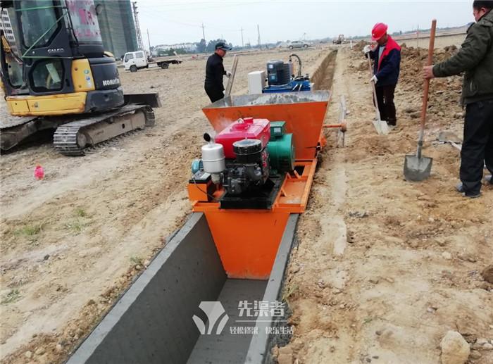 排灌渠施工现场