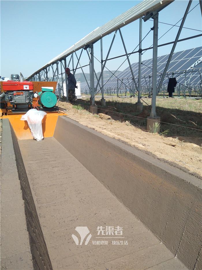 宽口梯形排水渠施工现场